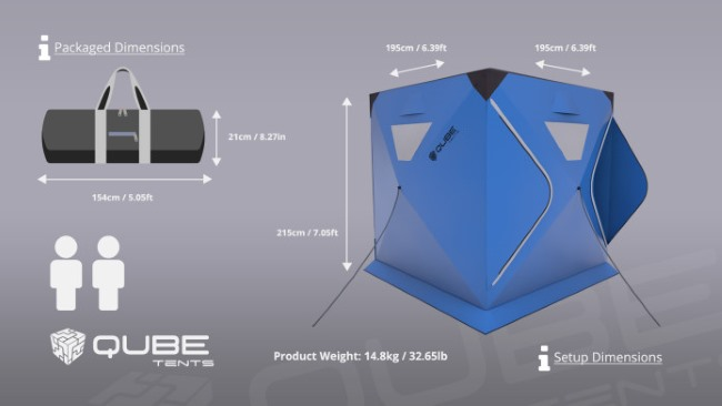 Qube Tents, dimensiones